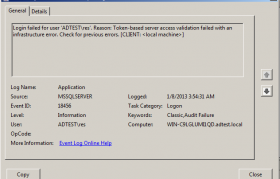 SQL Server Error 18456 Event Viewer