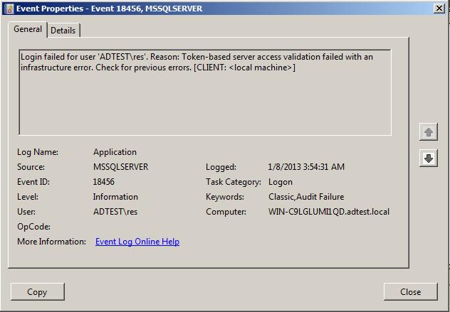 Sql Server Error 18456